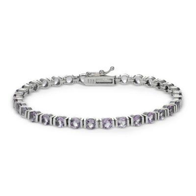 Sterling Silver 11 cttw Prong Set Amethyst Bar Line Bracelet