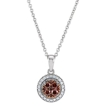 14K White Gold Brown and White .375 cttw Diamond Halo Pendant Necklace
