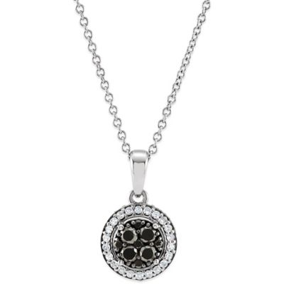 14K White Gold Black and White .375 cttw Diamond Halo Pendant Necklace