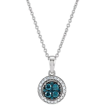 14K White Gold Blue and White .375 cttw Diamond Halo Pendant Necklace