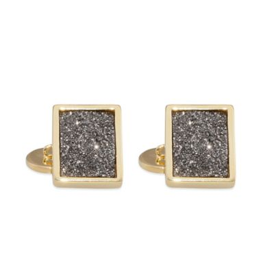 ChristineDarren 22K Gold Plated, 11.70mm x 15.70mm Titanium/Platinum Square Drusy Cufflinks