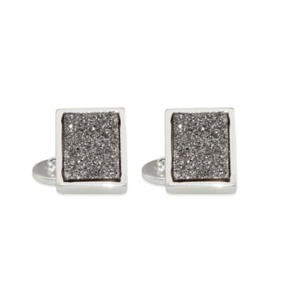 ChristineDarren Sterling Silver Plated, 11.70mm x 15.70mm Titanium/Platinum Square Drusy Cufflinks