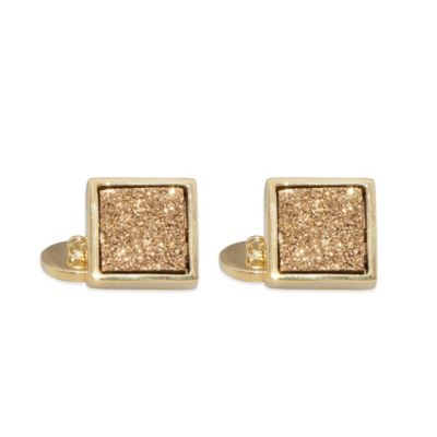 ChristineDarren 22K Gold Plated, 12mm Gold Square Drusy Cufflinks