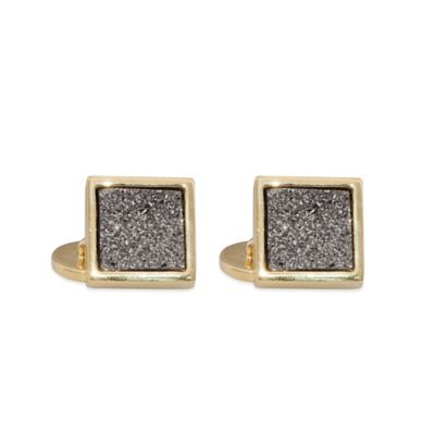 ChristineDarren 22K Gold Plated, 12mm Titanium/Platinum Square Drusy Cufflinks