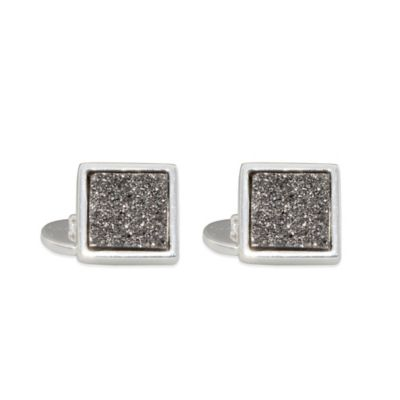 ChristineDarren Sterling Silver-Plated 12mm x 12mm Square Titanium/Platinum Drusy Cufflinks
