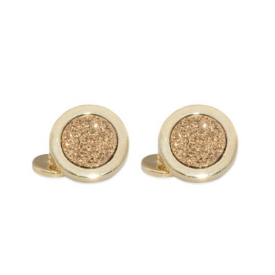 22K Gold-Plated 13mm Round Gold Drusy Cufflinks
