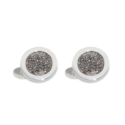ChristineDarren Sterling Silver-Plated 13mm Round Titanium/Platinum Drusy Cufflinks