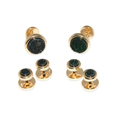 ChristineDarren 22K Gold-Plated 5.5mm Round Black Drusy Tuxedo Studs and 11.5mm Cufflinks Set