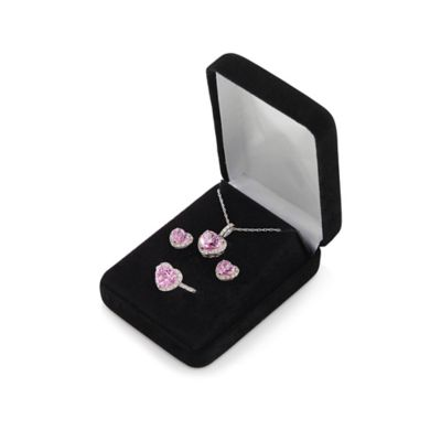 Sterling Silver Created Pink and White Sapphire Heart Pendant Necklace, Earrings, and Ring Box Set