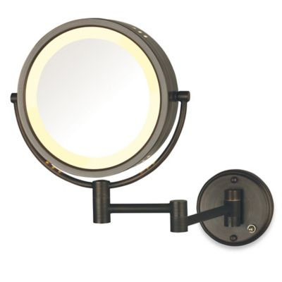 Jerdon 8X/1X Lighted Direct Wire Wall Mount Mirror in Bronze