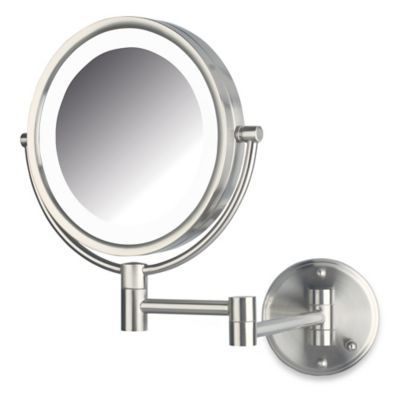 Jerdon 8X/1X LED Wall Mount Mirror in Nickel