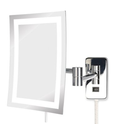 Jerdon 5X LED Rectangular Direct Wire Wall Mount Mirror in Chrome