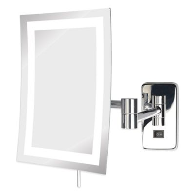 Jerdon 5X LED Rectangular Wall Mount Mirror in Nickel