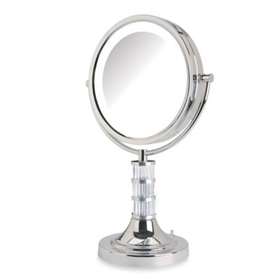 Jerdon 8X/1X Steuben Column LED Lighted Vanity Mirror in Chrome
