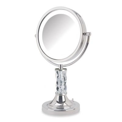 Jerdon 8X/1X Steuben Prism LED Lighted Vanity Mirror in Nickel