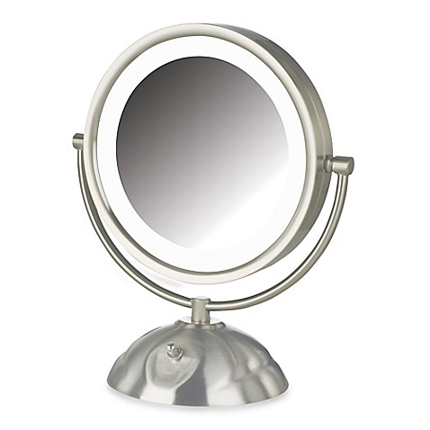 1x led lighted vanity mirror in brushed nickel from bed bath beyond. Black Bedroom Furniture Sets. Home Design Ideas
