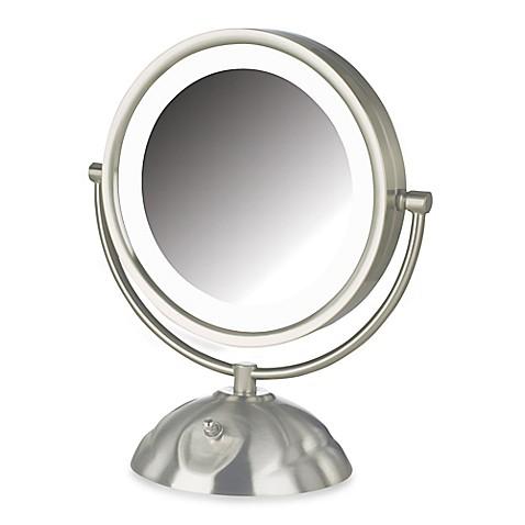 Jerdon 8x 1x led lighted vanity mirror in brushed nickel - Bathroom vanity mirrors brushed nickel ...