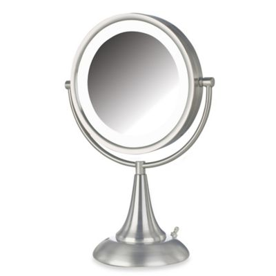 Jerdon 8X/1X LED 15-Inch Lighted Vanity Mirror in Brushed Nickel
