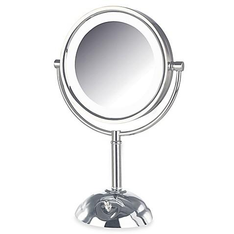 jerdon 8x 1x led lighted vanity mirror in chrome. Black Bedroom Furniture Sets. Home Design Ideas