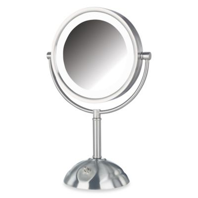 Jerdon 8X/1X LED Lighted Table Top Mirror in Nickel