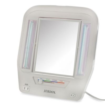 Jerdon 5X/1X Euro Lighted Makeup Mirror in White