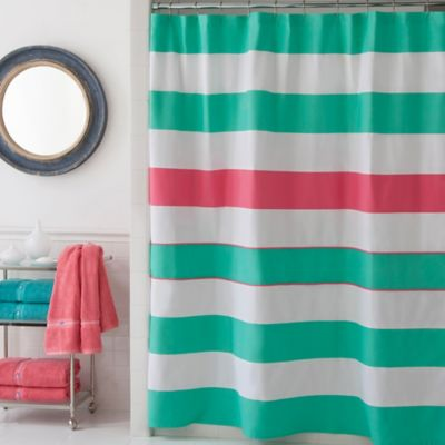 Green / White Cotton Shower Curtain