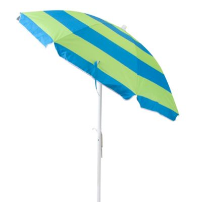 6-Foot Cabana Stripe Beach Umbrella in Green/Blue