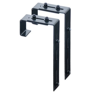 Mayne Adjustable Deck Rail Bracket in Black (Set of 2)