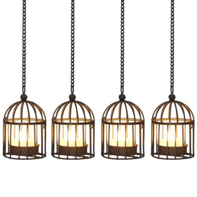 Birdcage Umbrella Dangler LED Tea Lights (Set of 4)