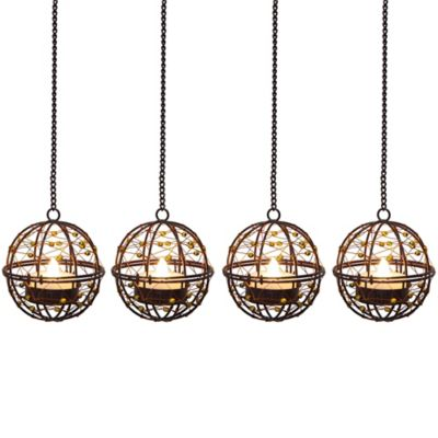 Wire Copper Ball Umbrella Dangler LED Tea Lights (Set of 4)