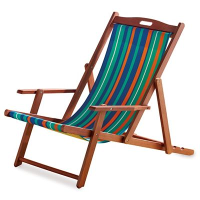 Resort Striped Folding Wood Beach Chair