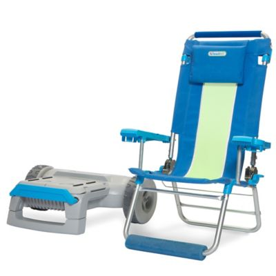 beachTuff™ The Lazee Move™ High Beach Chair and Beach Cart in Blue/Green