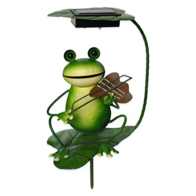 Solar-Powered Frog with Violin Lighted Garden Stake