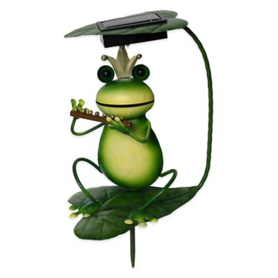 Solar-Powered Frog with Flute Lighted Garden Stake