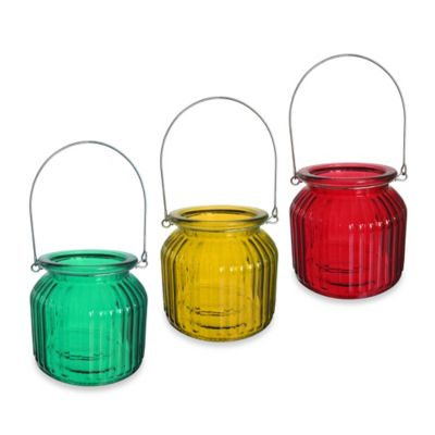 Extra Large Ribbed Glass Lantern in Red