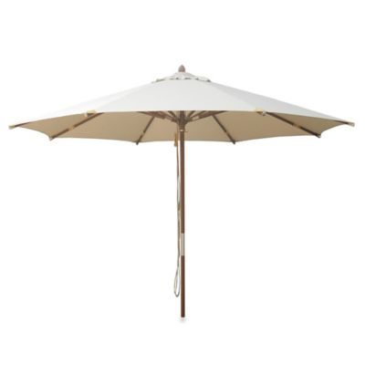 10-Foot Round Deluxe Eucalyptus Wood Patio Umbrella in Blue
