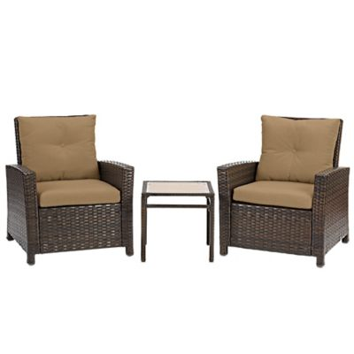 Barrington 3-Piece Wicker Club Chair Set in Tan