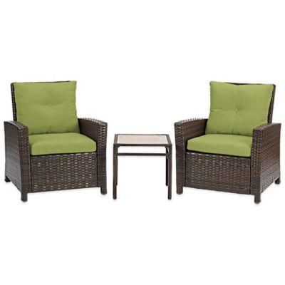 Barrington 3-Piece Wicker Club Chair Set in Lime
