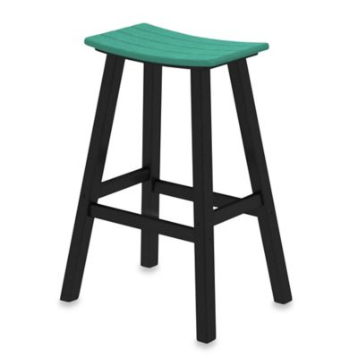 POLYWOOD® Contempo 30-Inch Saddle Bar Stool in Black/Pacific Blue