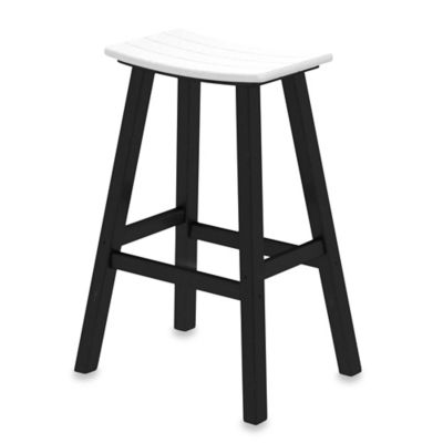 POLYWOOD® Contempo 30-Inch Saddle Bar Stool in Black/White