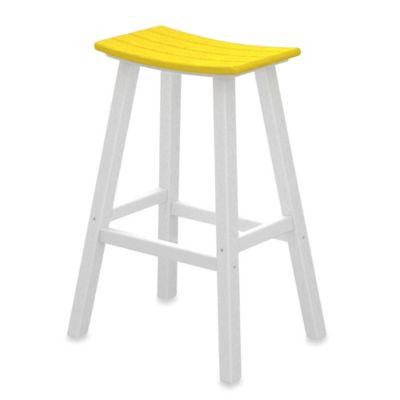 POLYWOOD® Contempo 30-Inch Saddle Bar Stool in White/Lemon