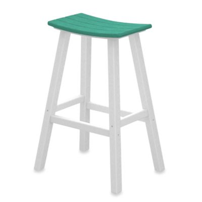 POLYWOOD® Contempo 30-Inch Saddle Bar Stool in White/Green