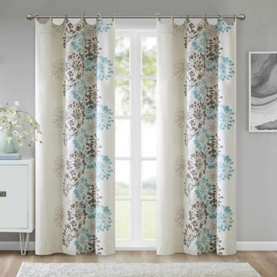 Anya 84-Inch Grommet Window Curtain Panel in Blue/Brown