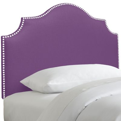 Skyline Furniture Nail Button Notched Twin Headboard in Duck Purple