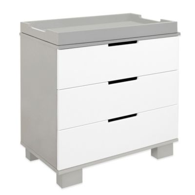 Dressers > Babyletto Modo 3-Drawer Changer Dresser in Grey/White