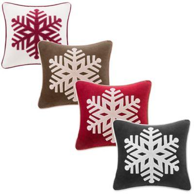 Velvet Snowflake Square Throw Pillow in Red/Khaki