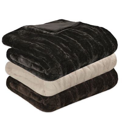 Madison Park Ruched Faux-Fur Throw in Ivory