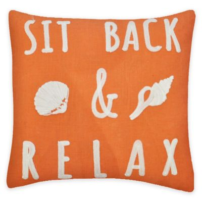 Sit Back & Relax Chain Stitch Square Throw Pillow in Coral