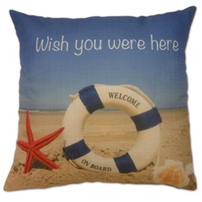 Wish You Were Here Square Throw Pillow in Blue