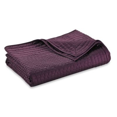 Vince Camuto Crocodile Full/Queen Coverlet in Plum